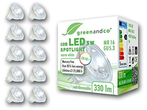 10x greenandco® CRI 90+ LED Spot ersetzt 30 Watt MR16 GU5.3 Halogenstrahler, 5W 330 Lumen 3000K warmweiß COB LED Strahler 38° 12V AC/DC Glas mit Schutzglas, nicht dimmbar, 2 Jahre Garantie