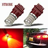 iBrightstar Newest 9-30V Flashing Strobe Blinking Brake Lights 3157 3057 3156 3056 LED Bulbs with Projector replacement for Tail Brake Stop Lights, Brilliant Red