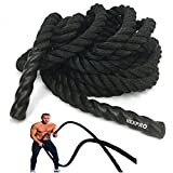 NEXPRO Battle Rope Polydac Undulation Rope Exercise Fitness Training - 1.5' Width Avail. in 30ft, 40ft, 50ft Length Black (50 Ft. Length)