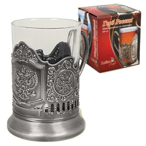 Teeglashalter Wappen Russland mit Adler - Glas 200ml - Glas mit Untersetzer aus Metall
