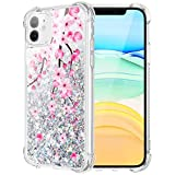 Caka Flower Case for iPhone 11 Floral Glitter Case for Girls Women Flower Protective Bling Liquid Sparkle TPU Cushion Bumper Luxury Flowing Pink Phone Case for iPhone 11 (6.1 inch)(Cherry Blossom)
