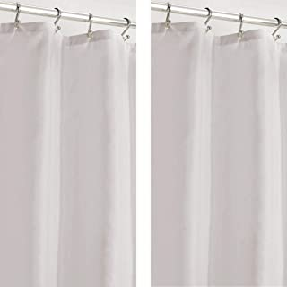 mDesign Water Repellent, Heavy Duty Flat Weave Shower Curtain, Liner - Weighted Bottom Hem for Bathroom Shower and Bathtu...