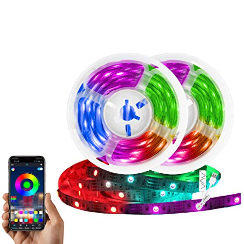 10 ft Led Strip Lights with App Controlled Remote, 5050 RGB Led Lights with Timer for Bedroom, Music Sync Flexible Color Changing Lights for Bar, Outdoor Garden Home Decoration