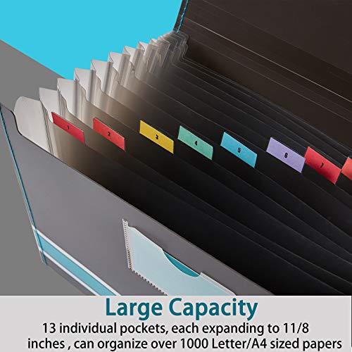 Sooez Expanding File Folder Paper Organizer with Sticky Labels, 13 Pockets File Organizer Accordion File Organizer, Letter/A4 Paper/Document Folder Organizer, File Folder Organizer File Holder, Red Photo #6