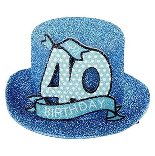 Geburtstags Hut mit Clip 40 Party Deko Spass Hutzylinder in türkis Happy 40 Birthday 12x11x6 cm