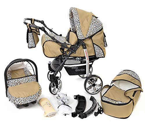 Sportive X2, 3-in-1 Travel System incl. Baby Pram with Swivel Wheels, Car Seat, Pushchair & Accessories (3-in-1 Travel System, Beige & Leopard)