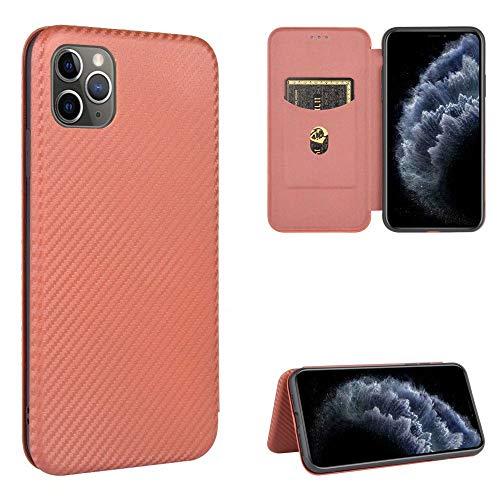 Miagon iPhone 11 Pro Max Brieftasche Hülle mit Kohlefaser Textur,PU Leder Schutzhülle mit Kartenfach Handyhülle Tasche Etui Folio Flip Cover Case Tasche für iPhone 11 Pro Max
