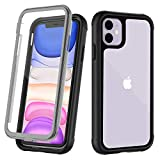 OUNNE iPhone 11 Case,Full-Body Rugged Clear Case with Built-in Screen Protector Heavy Duty Protection Designed for iPhone 11 Cases 6.1 Inch (2019) Clear+Black