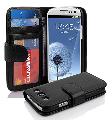 Cadorabo Hülle für Samsung Galaxy S3 / S3 NEO - Hülle in Oxid SCHWARZ – Handyhülle mit 3 Kartenfächern - Case Cover Schutzhülle Etui Tasche Book Klapp Style