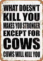 UF細胞メタルサイン-何を殺していないあなたは強くなります。牛を除く。牛はあなたを殺す。ビンテージルック