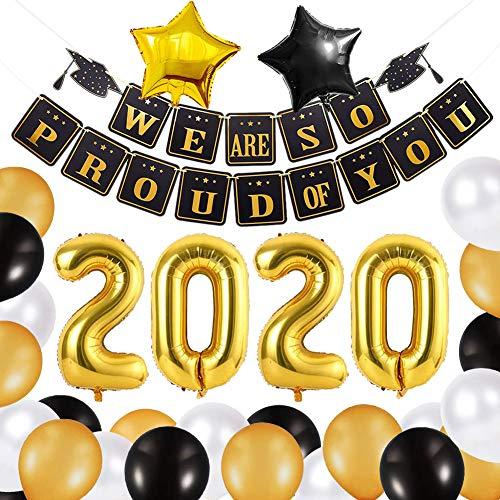 Xiangmall Decoracion de Graduacion 2020 Suministros Fiesta Negro y Oro Globos de Látex We are So Proud of You Banner Globos 2020 Graduacion Globos de Aluminio Estrellas