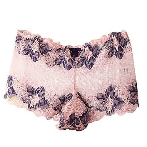 Floral Lace Sheer Boyshort Panties Women Lace See Through Underwear Plus Size Sexy Hipster Panty Mesh Bikini Briefs Pink