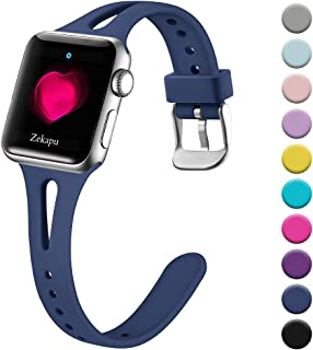 Zekapu Slim Band Compatible with Apple Watch 38mm 40mm 42mm 44mm for Women, Breathable Soft Silicone Thin Narrow Wristband for iWatch Series 4 3 2 1, Multi Colors