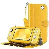 MoKo Funda Compatible con Nintendo Switch Lite, Cubierta Protectora de PU con 8 Puertos para Cartucho de Juego, Ranura de Tarjeta, Manija y Cordón de Mano para Nintendo Switch Lite 2019 - Amarillo