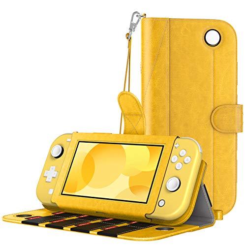 MoKo Funda Compatible con Nintendo Switch Lite, Cubierta Protectora de PU con 8 Puertos para Cartucho de Juego, Ranura de Tarjeta, Manija y Cordón de Mano para Nintendo Switch Lite 2019 - Amar