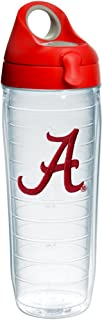 Tervis 1232037 Alabama Crimson Tide Script A Insulated Tumbler with Emblem and Red with Gray Lid, 24oz Water Bottle, Clear