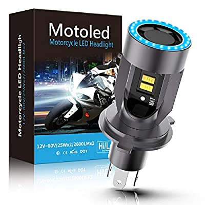 WAYRANK H4 LED Motorcycle Headlight Bulb 9003 HS1 Hi/Lo Beam 25W 3500LM 6000K Cool White with Blue Angel Eye Daytime Running Light by WRMT