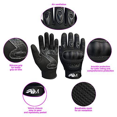 Prime Ganzer Finger Motorrad Sport Reiten Mountainbike Schutz Sommer Handschuhe 9001 – Schwarz, Small - 4