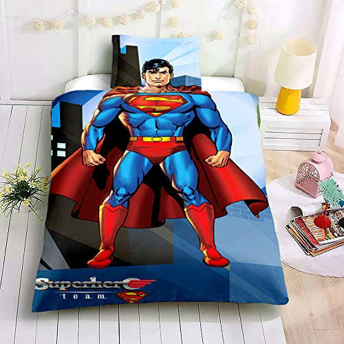 UOUL 3 Pezzi Completi Bedding Set 3D Digital Printing Superman Poliestere Modello Cool Cool Morbido Adatto per Bambini Gioventù,C,Single