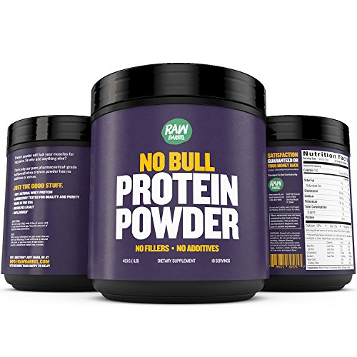 Raw Barrels Unflavored Whey Protein Powder - 1lb Pure, Instantized Concentrate Supplement - High Protein, Low Carb & Natural - Includes Digital Guide and Recipe Book