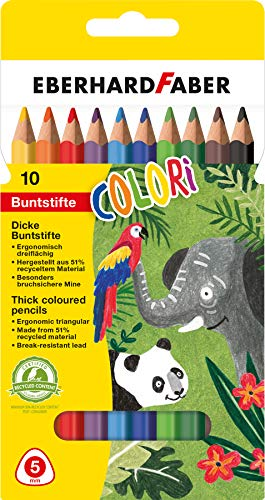 Eberhard Faber 511409 - Colori Jumbo Buntstifte, in 10 Farben, im Kartonetui, ergonomisch dreiflächig, zum Malen, Illustrieren und Zeichnen