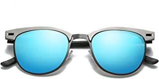 Polarized Clubmaster Sunglasses with 48mm Semi Rimless Lens LM017
