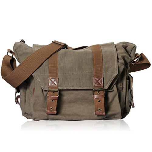 DRF Kameratasche Canvas Schultertasche für SLR Kamera Fototasche Umhängetasche #BG-22 (grün)