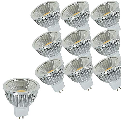 OUGEER 10 bombillas LED GU5.3 MR16 AC85 – 265 V blanco cálido 3000 K 6 W 60 W MR16 equivalentes a bombillas halógenas MR16 6 W casquillo GU5,3, sin parpadeo, 49 mm de diámetro, aluminio no regulable