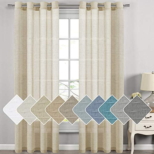 H.VERSAILTEX Natural Linen Sheer Curtains for Living Room/Dining Room, Extra Long Curtains Made of Rich Linen Soft Material, Nickel Grommet Window Panel Drapes (Set of 2, 52 by 108 Inch, Butter)