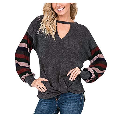 YANFANG Camiseta de Mujer con Cuello Pico, algodón, Parte Superior básica de Encaje marrón Oscuro Top de Blusa Suelta Informal Anudada y Manga de Soplo a Rayas para Mujer