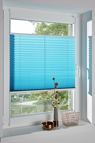 DecoProfi PLISSEE wasserblau/türkis, verspannt, Breite 65cm x 130cm (max. Gesamthöhe Fensterflügel), mit Klemmträger/Klemmfix/ohne Bohren