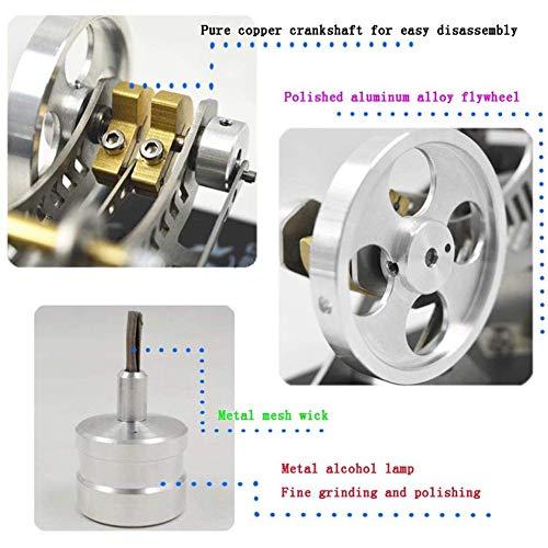 LCZ Fai da Te Stirling Modello di Motore A Vapore STEM Modello Set, Vuoto Full Metal,Argento