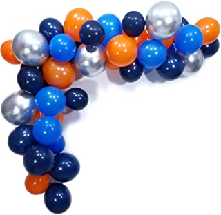 Space Balloons party 70 Pack,Royal Navy Blue,Orange,Blue Latex Balloons and12inch Metallic Silver Balloons for Outer Space Party Theme Supplies Baby Shower Birthday Party