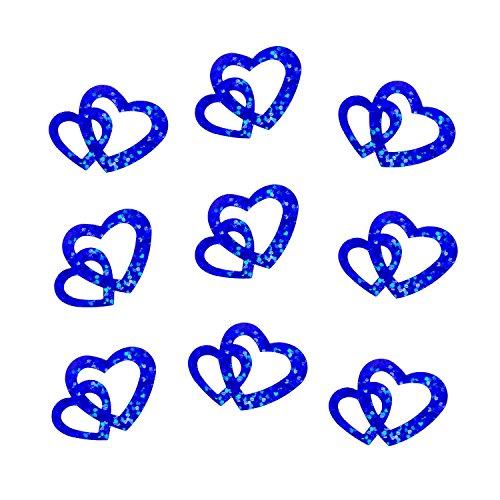 Oblique-Unique® 100 Stk Deko Doppel Herzen - Farbwahl (Konigblau Glitzereffekt)