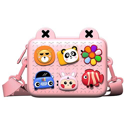 Kinder Umhängetasche für Mädchen Jungen, Brustbeutel Geldbeutel Handtasche mit niedlich Tier Motiv, 3-12 Jahre Kinder, Pink 18.2 * 14 * 7.2cm