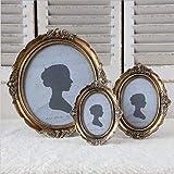 Marco de fotos montado en la pared marco de fotos de resina vintage clásico imitación talla de madera marco ovalado marco de fotos 10 * 15 cm