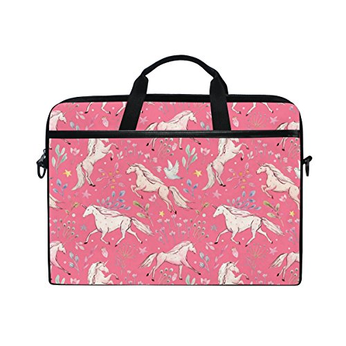 Laptop Case, Unicorns Printed with 3 Compartment Shoulder Strap Handle Canvas Notebook Computer Bag Personalised Perfect for Boys Girls Women Men 13 13.3 14 15 inch Pink