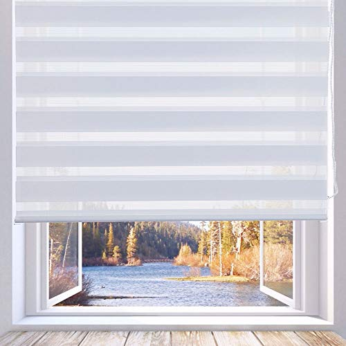 LUCKUP Horizontal Window Shade Blind Zebra Dual Roller Blinds Day and Night Blinds Curtains,Easy to Install 33.5' x 90', White