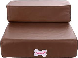 [Enerhu]ペットステップ 犬用踏み台 階段 2段タイプ 取り外し可能なカバー付き 防水 コーヒー色
