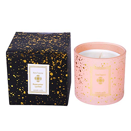 OURISE Scented Candles Gifts for Women, Rosewater Lychee Soy Wax & Star Cup Glass Candle Holders Dinner Candles, Birthday Gifts for Her Him Men Mum Sister Best Friends Dad New Home Gifts