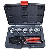 Automotive Cable Crimping Kit - 5 Die Quick Change Ratchet Crimper Includes Ignition Lead Die