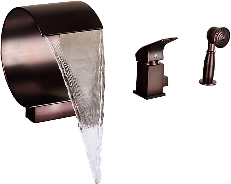 PLUMBER X Arc-Frmige Wasserfall Wasserhahn Mit Hand-Rotundity Duschkopf 3-Teilig Single Griff Gesundheit Messing Bad Waschbecken Mixer Kalt Hot Tap, l Eingerieben Bronze