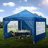 Carpa plegable de 3 x 3 m con 4 lados para exteriores, resistente al agua, con revestimiento de poliuretano y bolsa de viaje (azul)