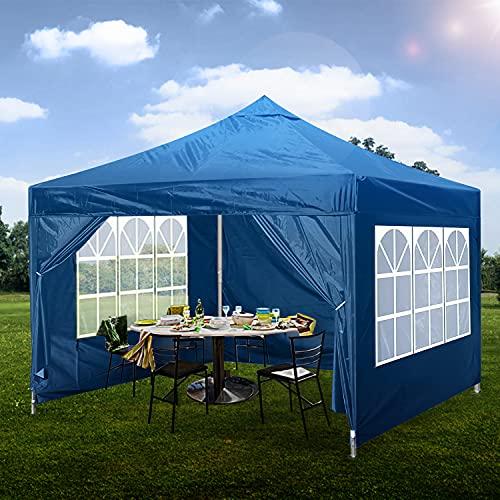 Gazebo Pop Up, 3 x 3 m, impermeable, resistente al agua, refugio de jardín con 4 lados, recubierto de poliuretano, bolsa de viaje