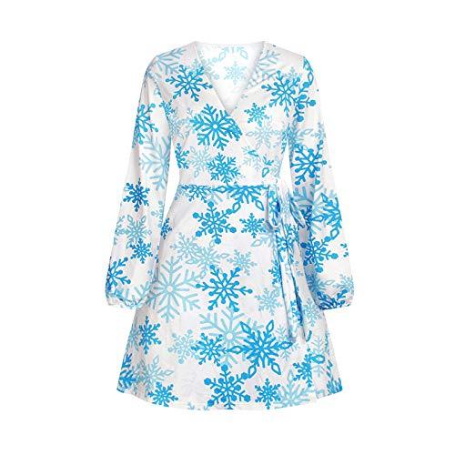 IBAKOM Mujer Moda Navidad Árbol de Navidad/Copo de Nieve Estampado Cuello en V Sexy Envoltura Otoño Primavera Casual Mini Vestido De Una Línea De Falda