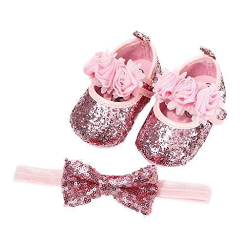 Auxma Babyschuhe für 0-18 Monate, Baby Mädchen Bequeme Anti-Rutsch Prinzessin Kleinkind Schuhe Krabbel Hausschuhe mit 1 PC Stirnbänder Haarband (11cm/0-6 M, Rosa)