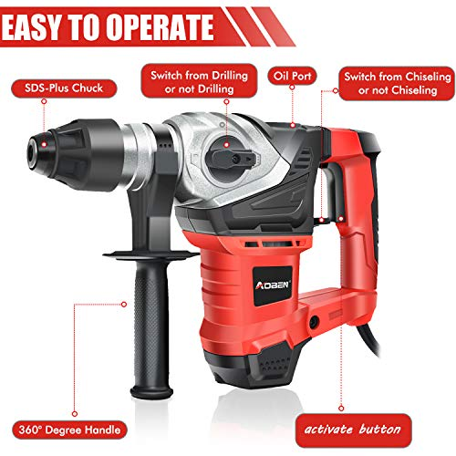 AOBEN 1-1/4 Inch SDS-Plus Rotary Hammer Drill with Vibration Control and Safety Clutch,13 Amp Heavy Duty Demolition Hammer for Concrete-Including 3 Drill Bits,Flat Chisels, Point Chisels, Drill Chuck