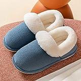 B/H Slipper Interiores y Exteriores,Pantuflas cálidas de algodón de Suela Gruesa, Zapatos de casa de Felpa con tacón Cubierto-Azul Gris_41-42,Zapatilla Andar