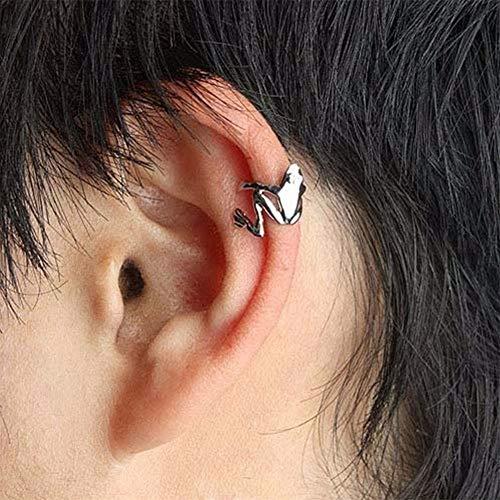 Aeromdale Pendientes de Metal Pendientes Punky Cuff Moda Piercing Falso Cartílago Aro Stud 1 Par - # 7 Plata