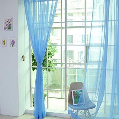 Lommer Vorhang Transparent, 2er 200x100CM Gardinen Set Fenstersiebung Voile Schlaufenschal Tüll Fenster Vorhang Garn mit Metallringen für Schlafzimmer und Wohnzimmer (Himmelblau)